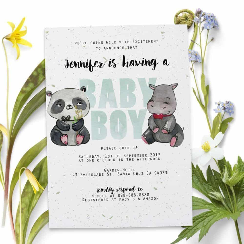 Panda and hippo baby shower party invitation cards personalized panda and hippo baby shower party invitation cards stopboris Choice Image