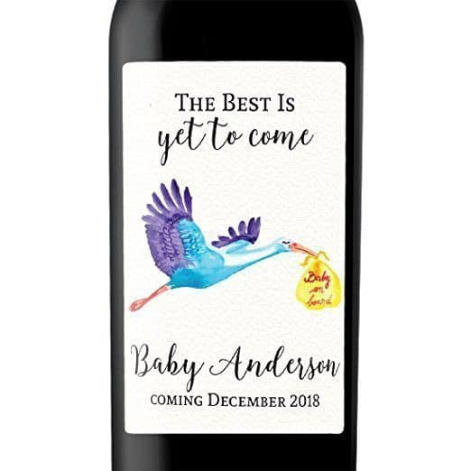 Baby On Board Wine Bottle Label Stickers  Pregnancy Announcement