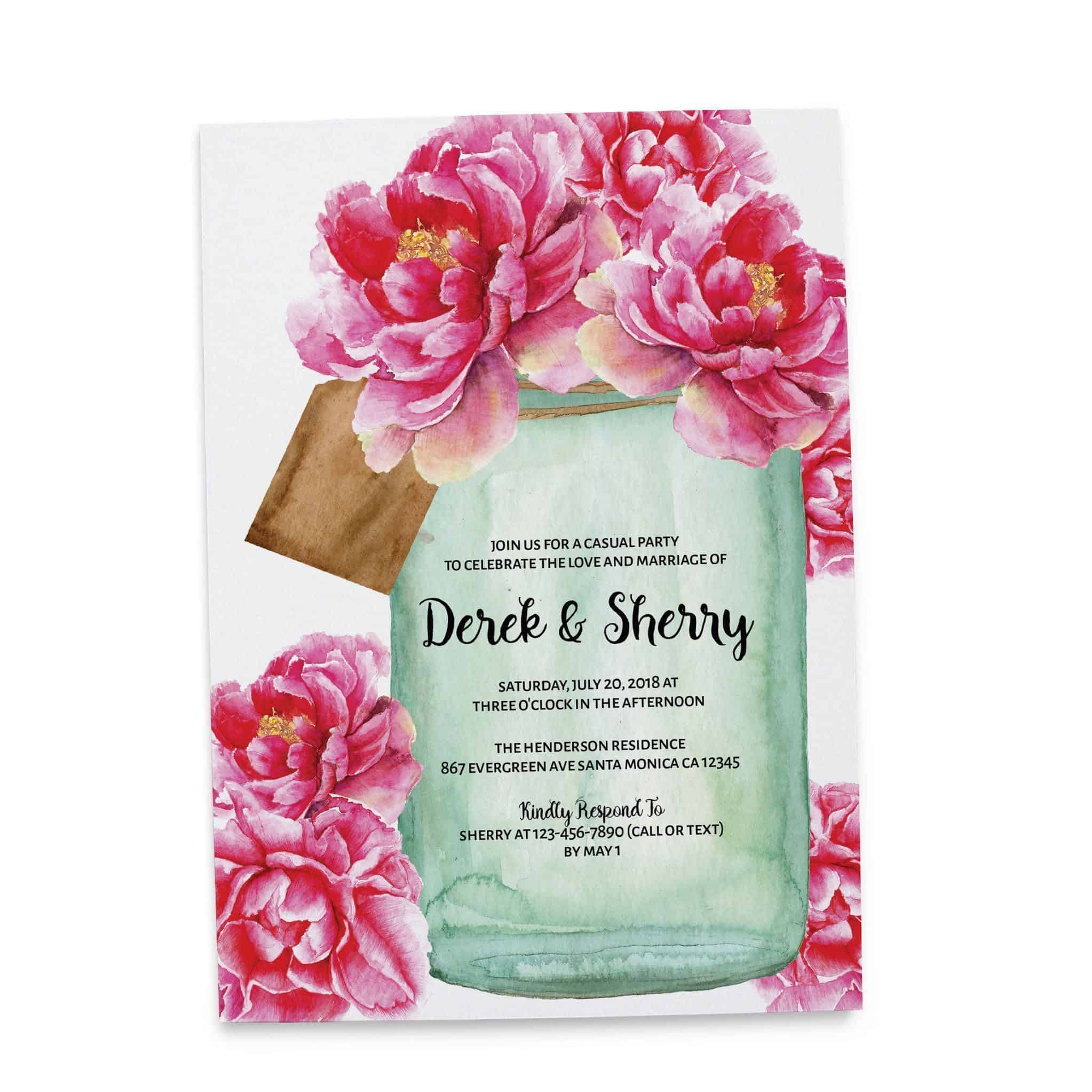 Rustic Mason Jars Wedding Reception Cards for Elopement Receptions ...