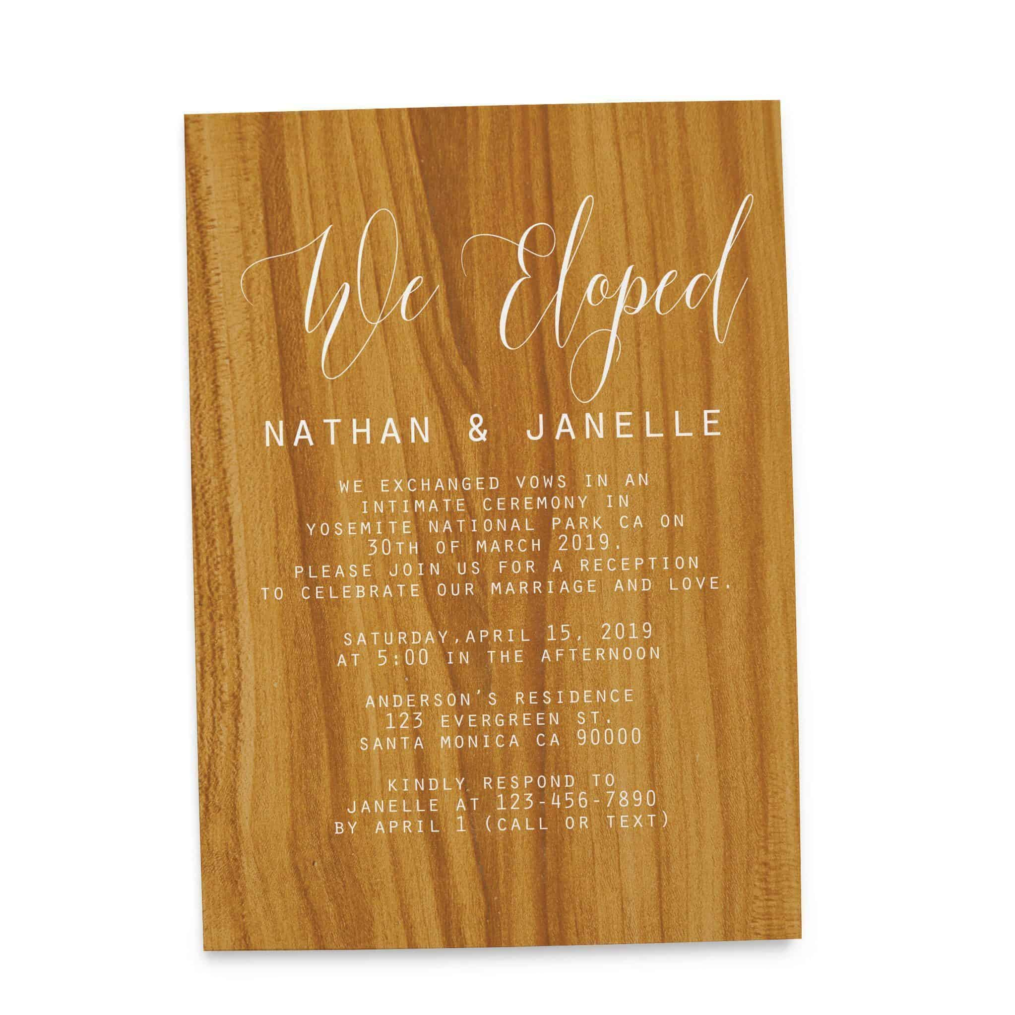 Rustic Wedding Reception Cards for Casual Party Dinner and BBQ