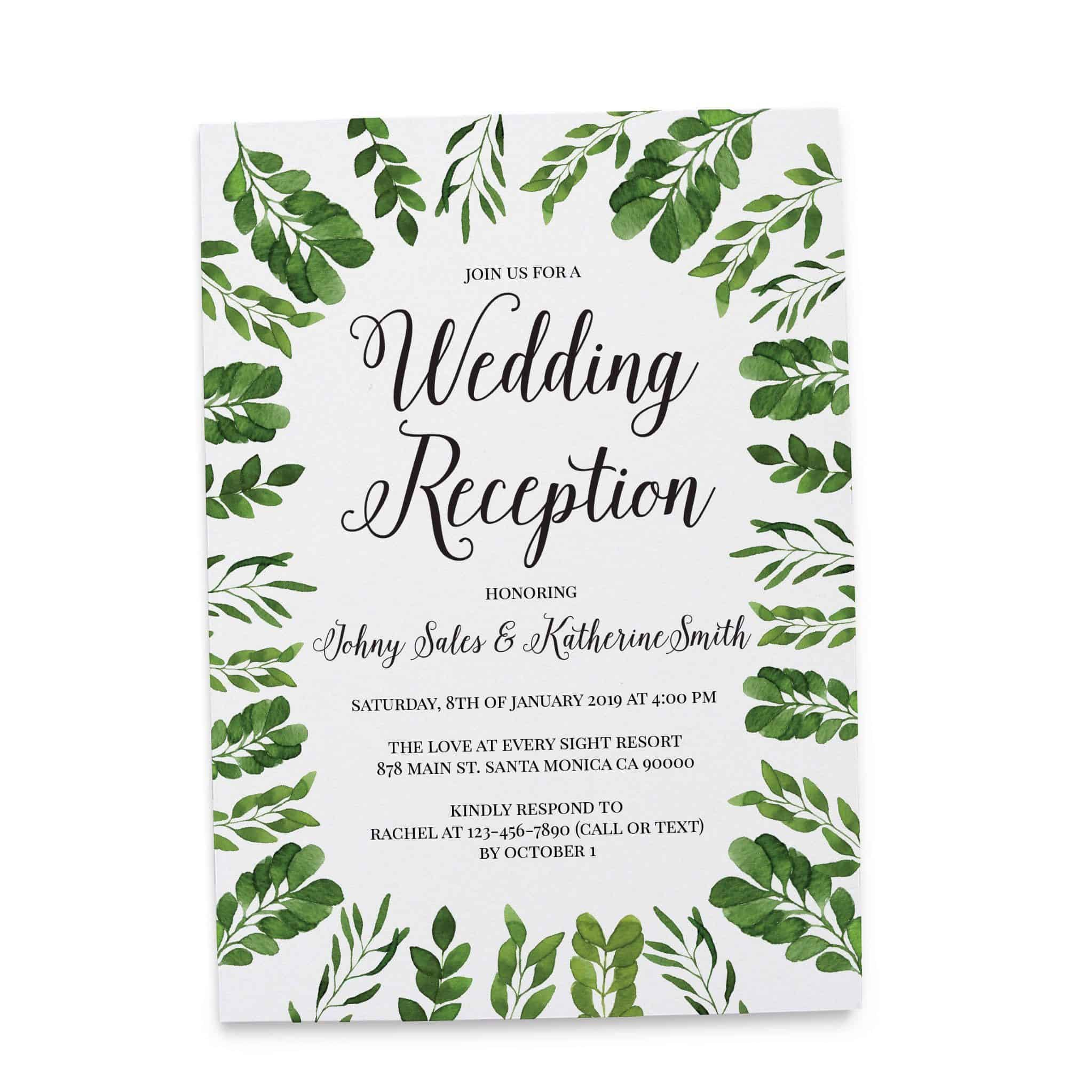 Modern, Simple Wedding Reception Invitation Cards for Casual Party ...
