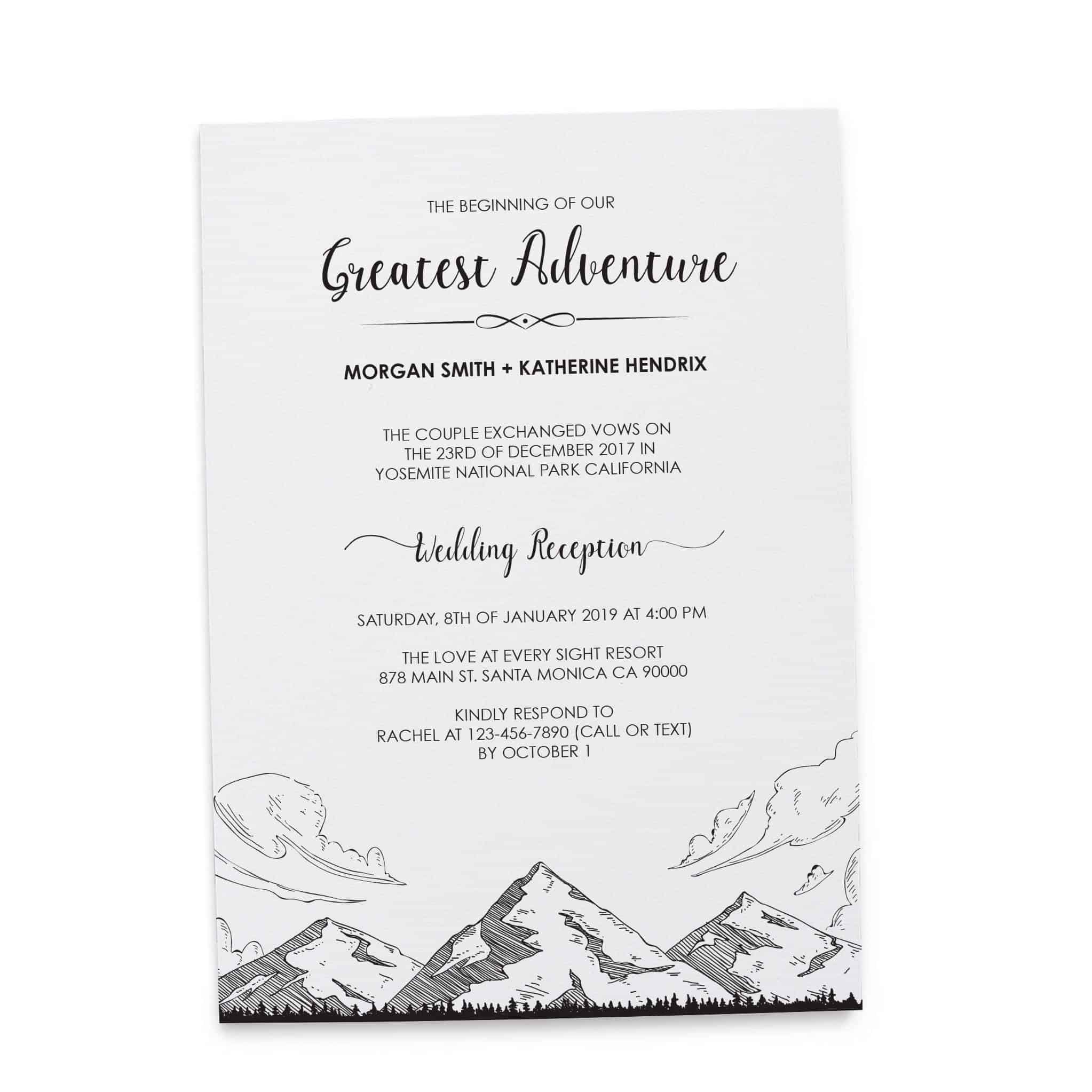 The Beginning of Our Greatest Adventure Wedding Reception Invitation ...