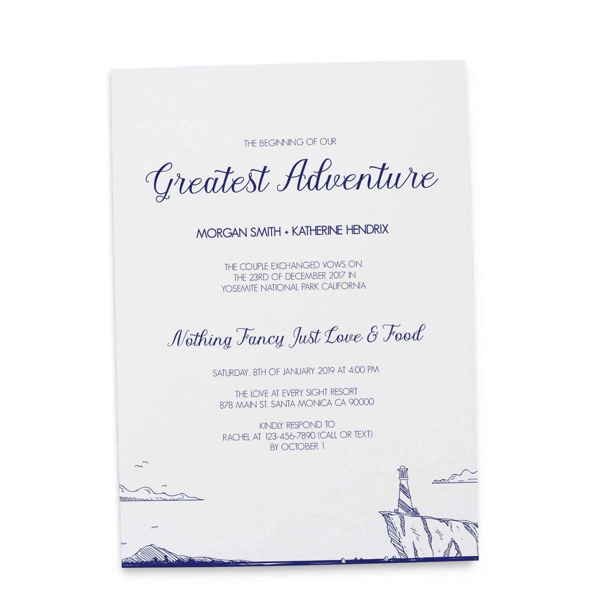 Simple the beginning of our greatest adventure wedding reception simple the beginning of our greatest adventure wedding reception invitation cards beach lighthouse bbq casual junglespirit Choice Image