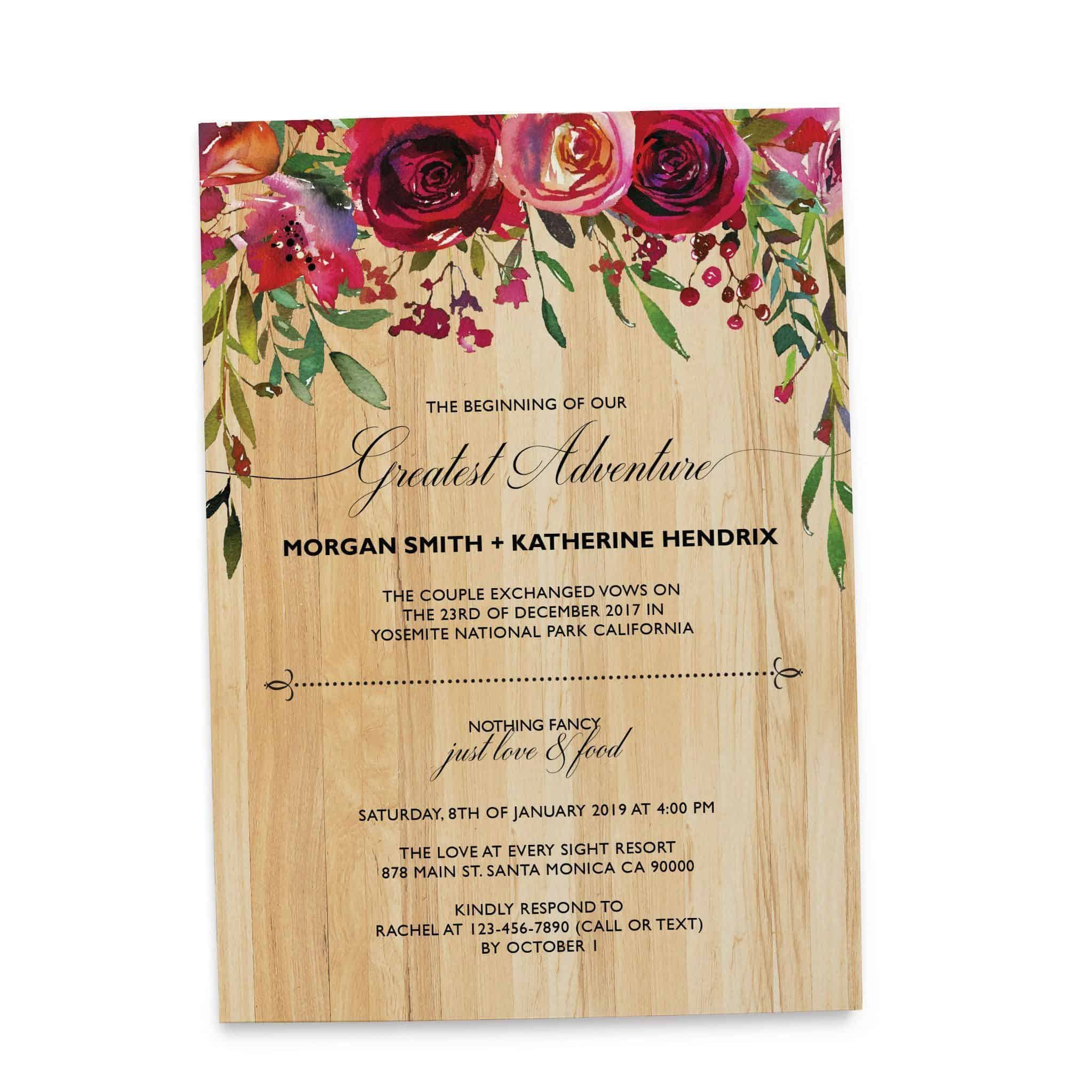 Rustic Elopement Wedding Reception Invitation Cards, BBQ Casual ...