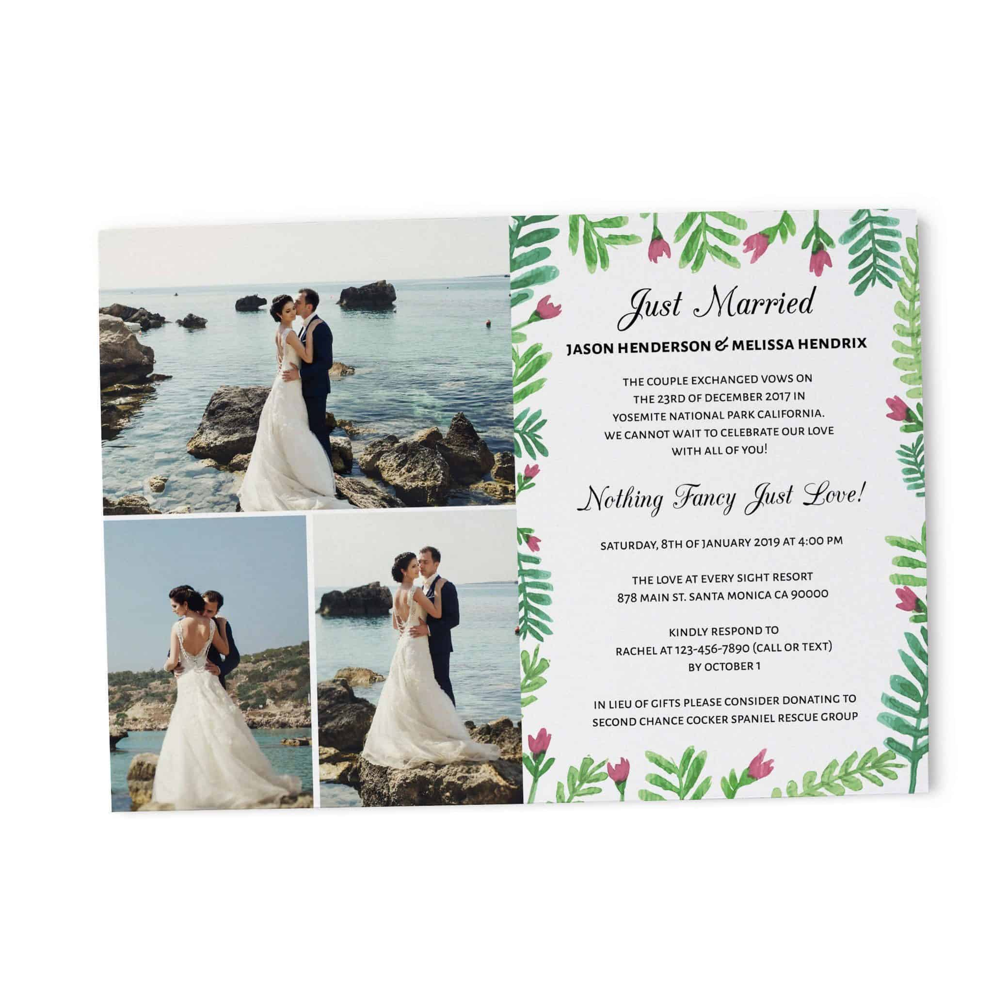 Just Married We Eloped Party Invites Nothing Fancy Just Love
