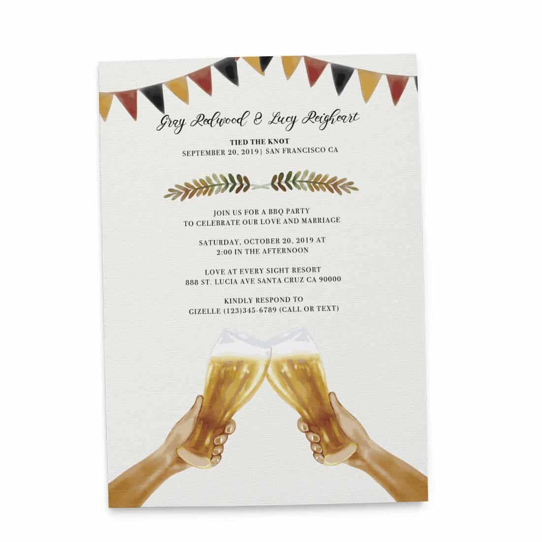 Tied The Knot BBQ Casual Party Invitation Cards Wedding Elopement