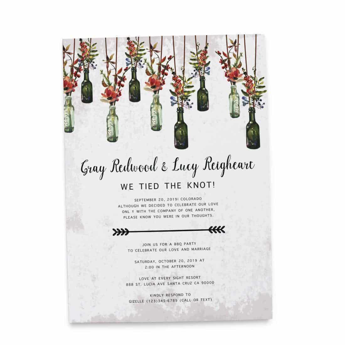 Rustic We Tied The Knot BBQ Casual Party Invitation Cards, Elopement ...