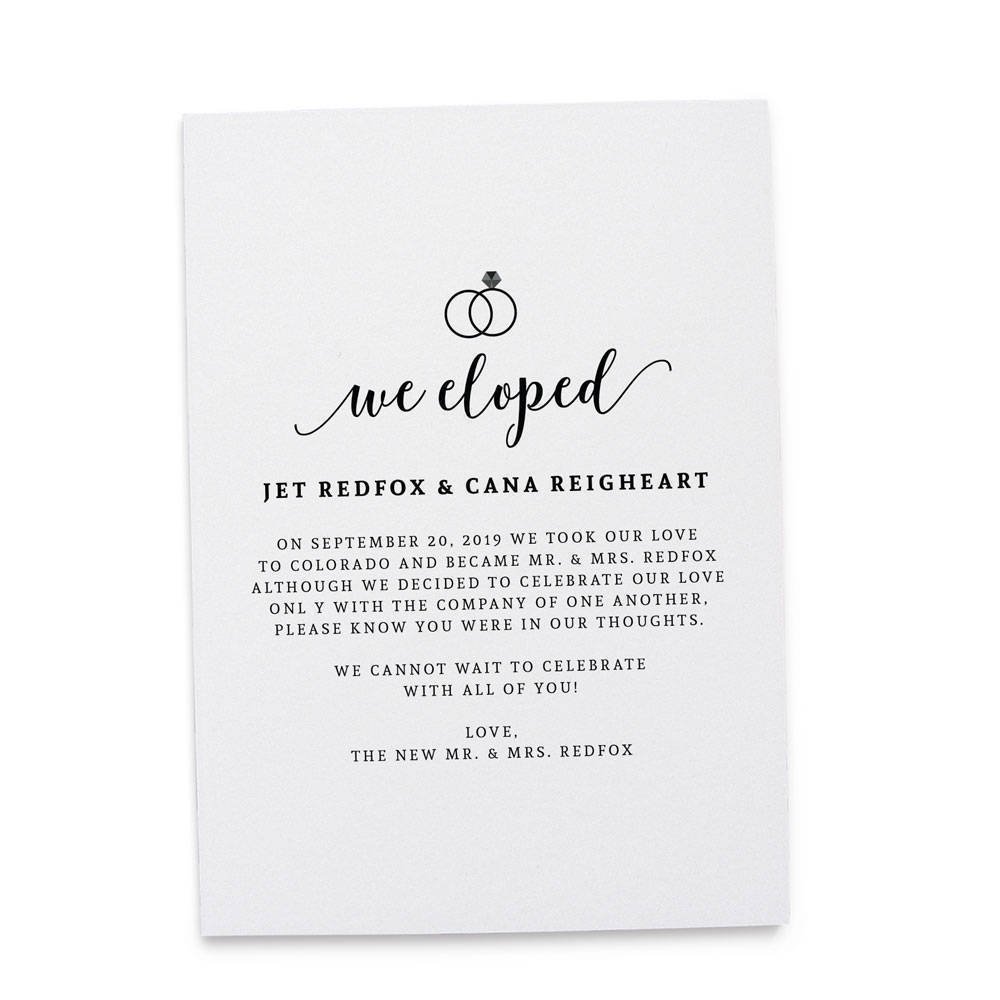 """Relatively We Eloped"""" Cards, Elopement Announcements, Elopement Cards  TD93"""