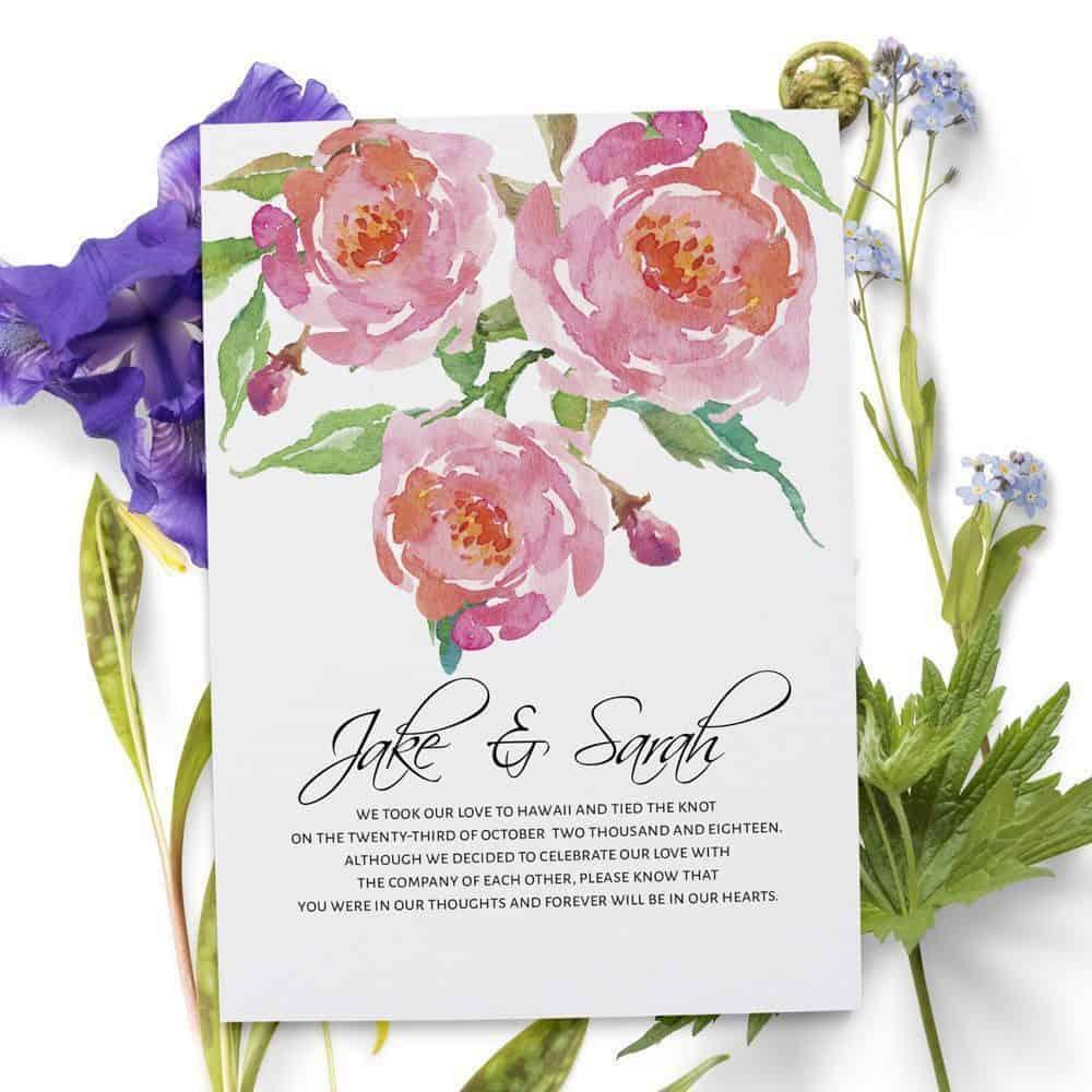 Elopement Cards, Pink Flowers Wedding Eloped Announcement Cards ...