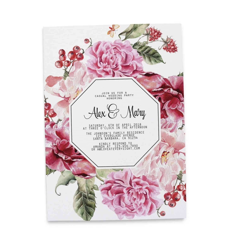 Vintage Wedding Reception Casual BBQ Party Invitation Cards