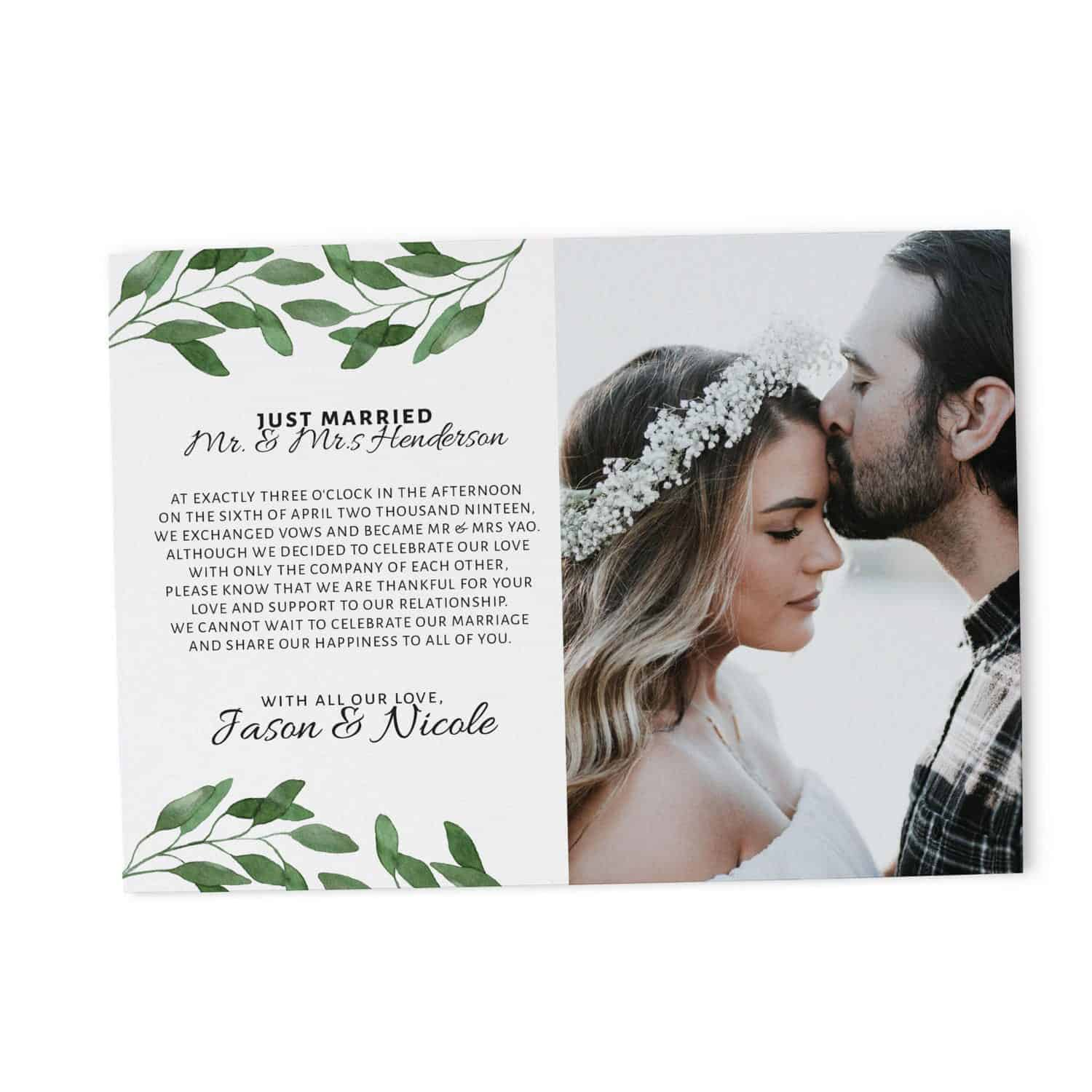 """Top Just Married"""" Cards, Green Leaves Elopement Announcements  TI87"""