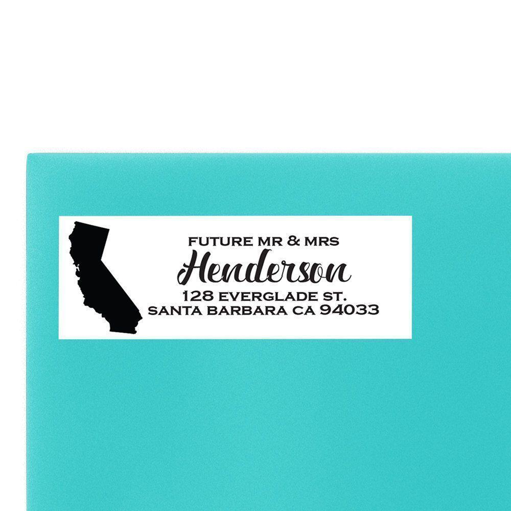 us state return address labels for weddings and party invitations