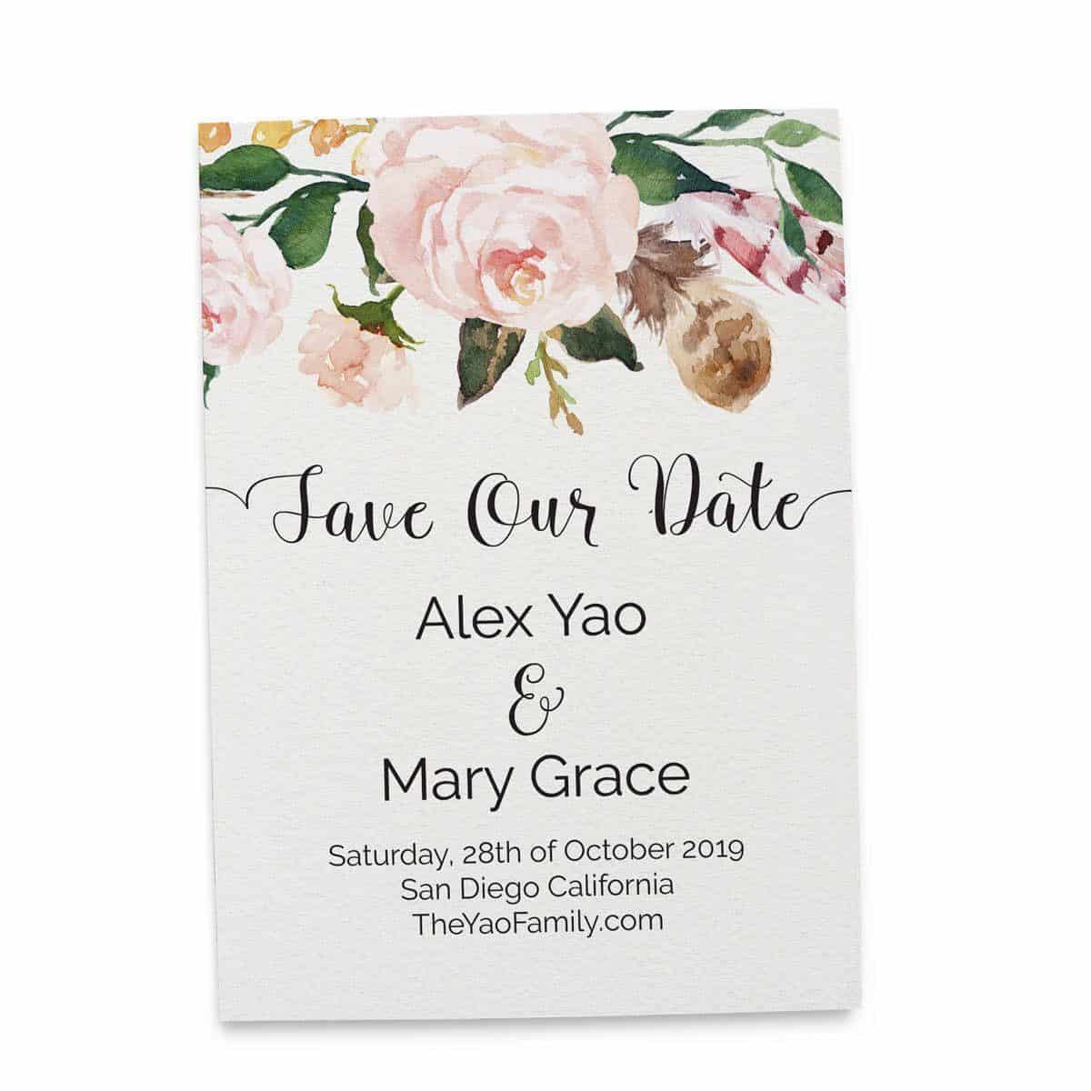 Beau Save The Date Cards, Floral Boho Bohemian Save The Date Wedding Cards