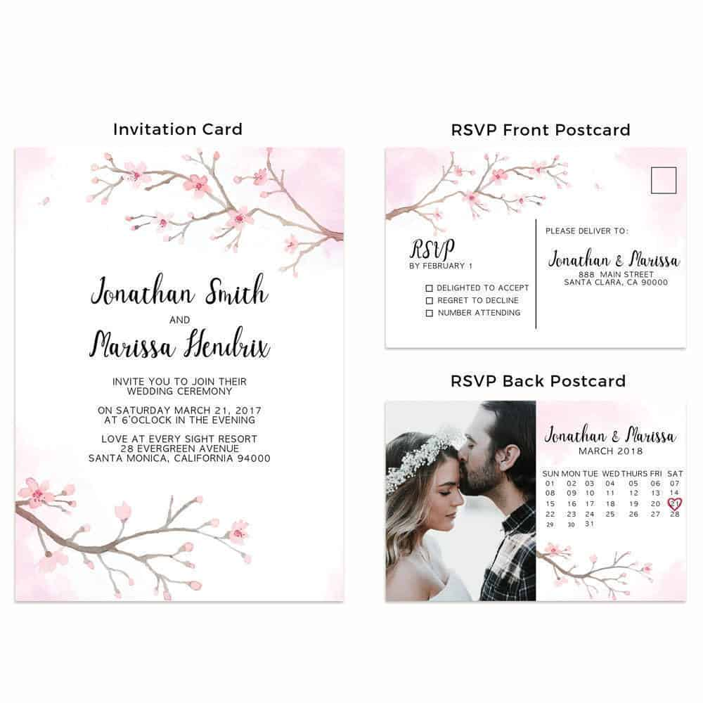 Cherry blossom wedding invitation cards with rsvp postcards sakura cherry blossom wedding invitation cards with rsvp postcards sakura wedding invites add your own stopboris Images