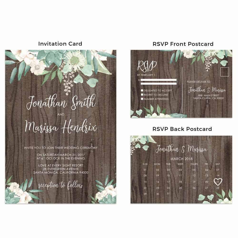 Rustic Wedding Invitation Cards with RSVP Postcards - LoveAtEverySight