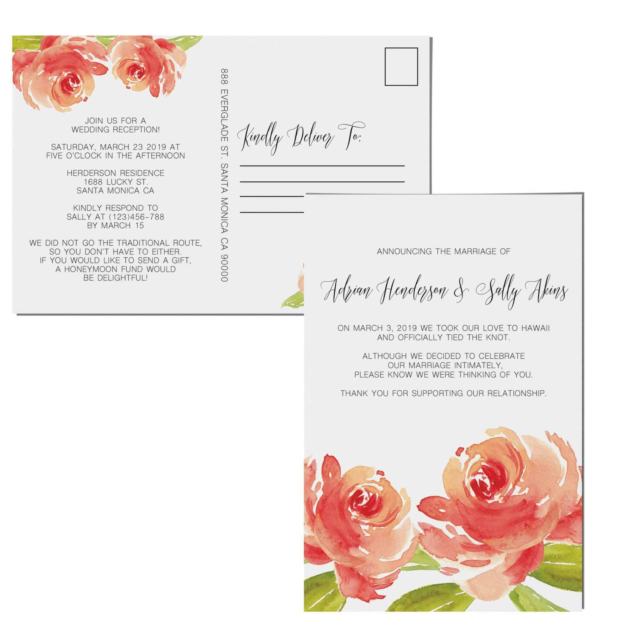 Floral Bloom, Elopement Announcement Cards, Tied the Knot Elopement ...