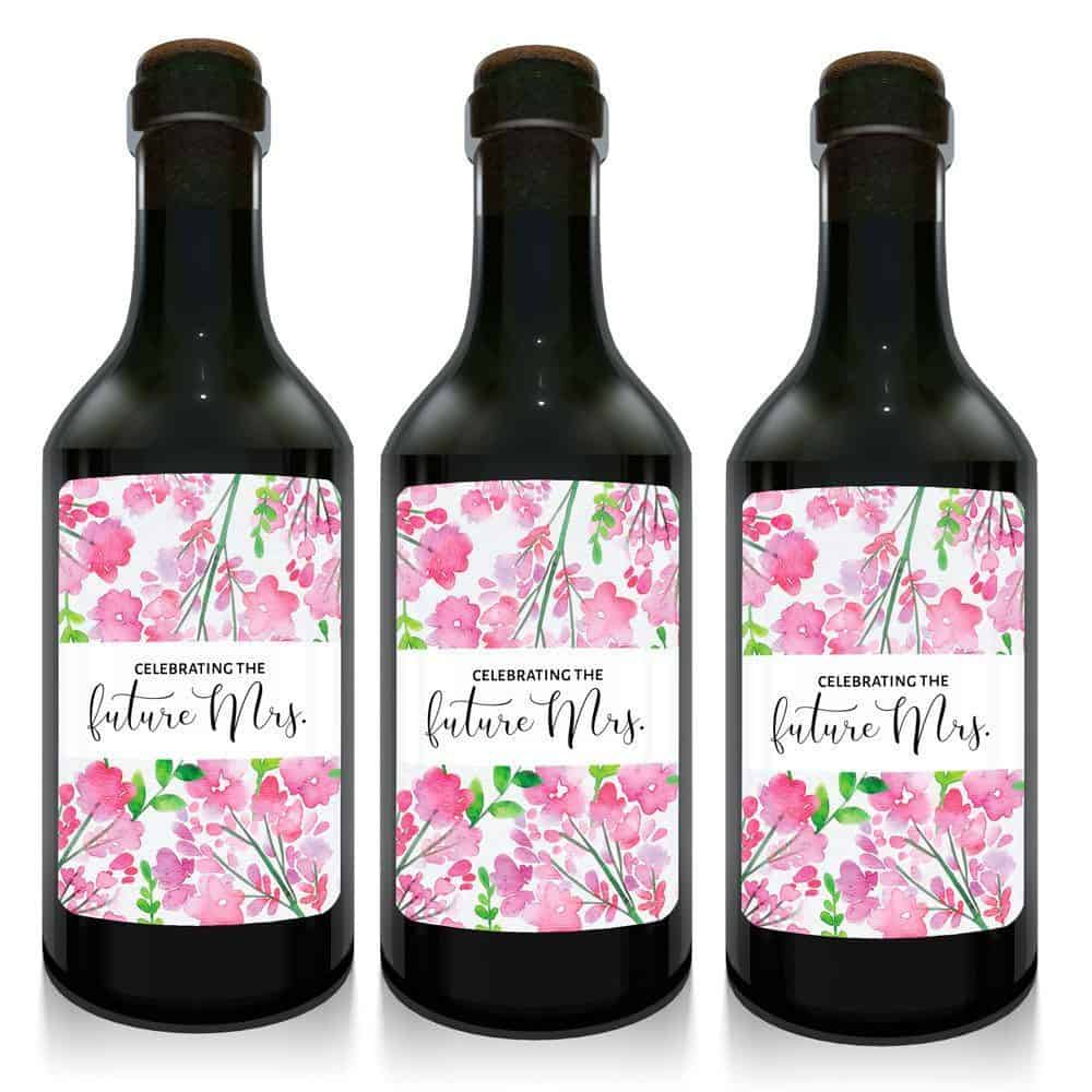 Celebrating the Future Mrs. Boho Floral Mini Wine Bottle Label ...