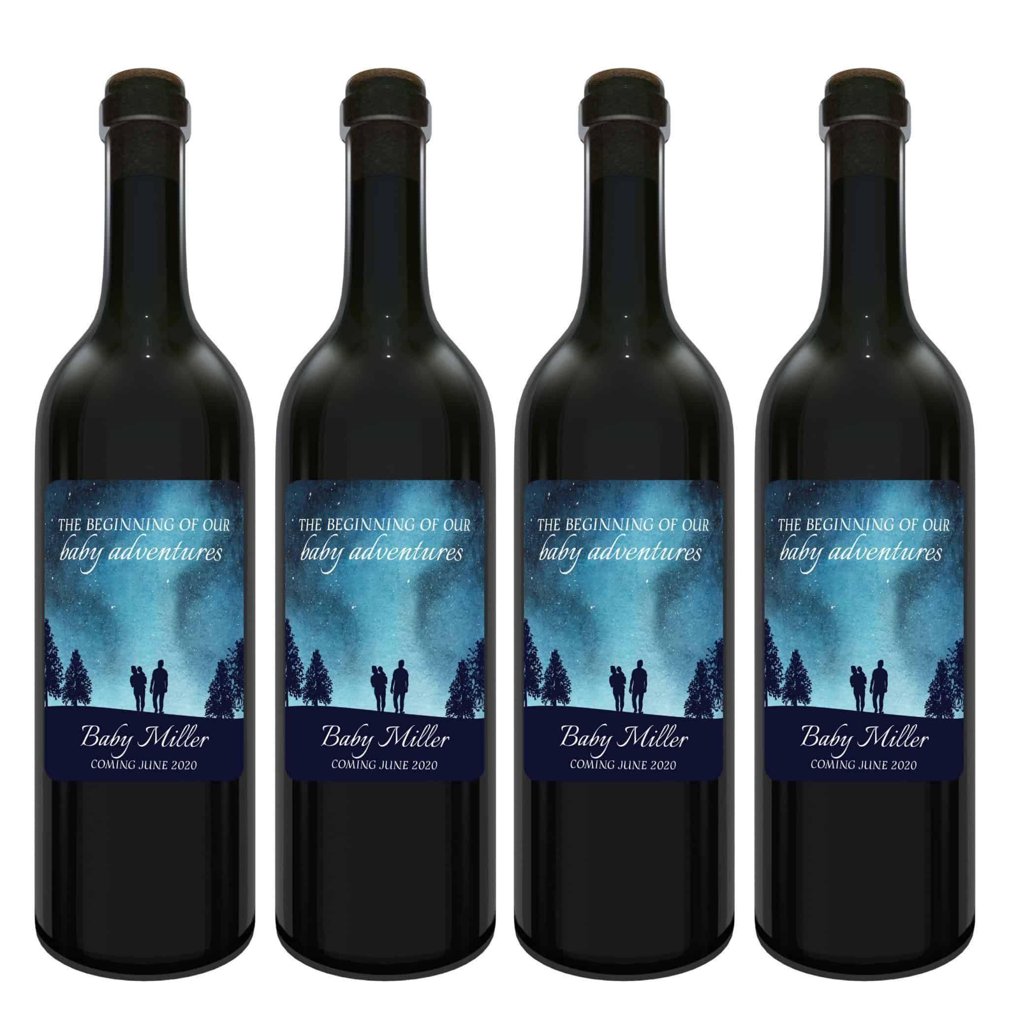 Baby announcement wine label stickers the adventure begins baby celebration custom bottle label superb fantasy sky theme set of 4