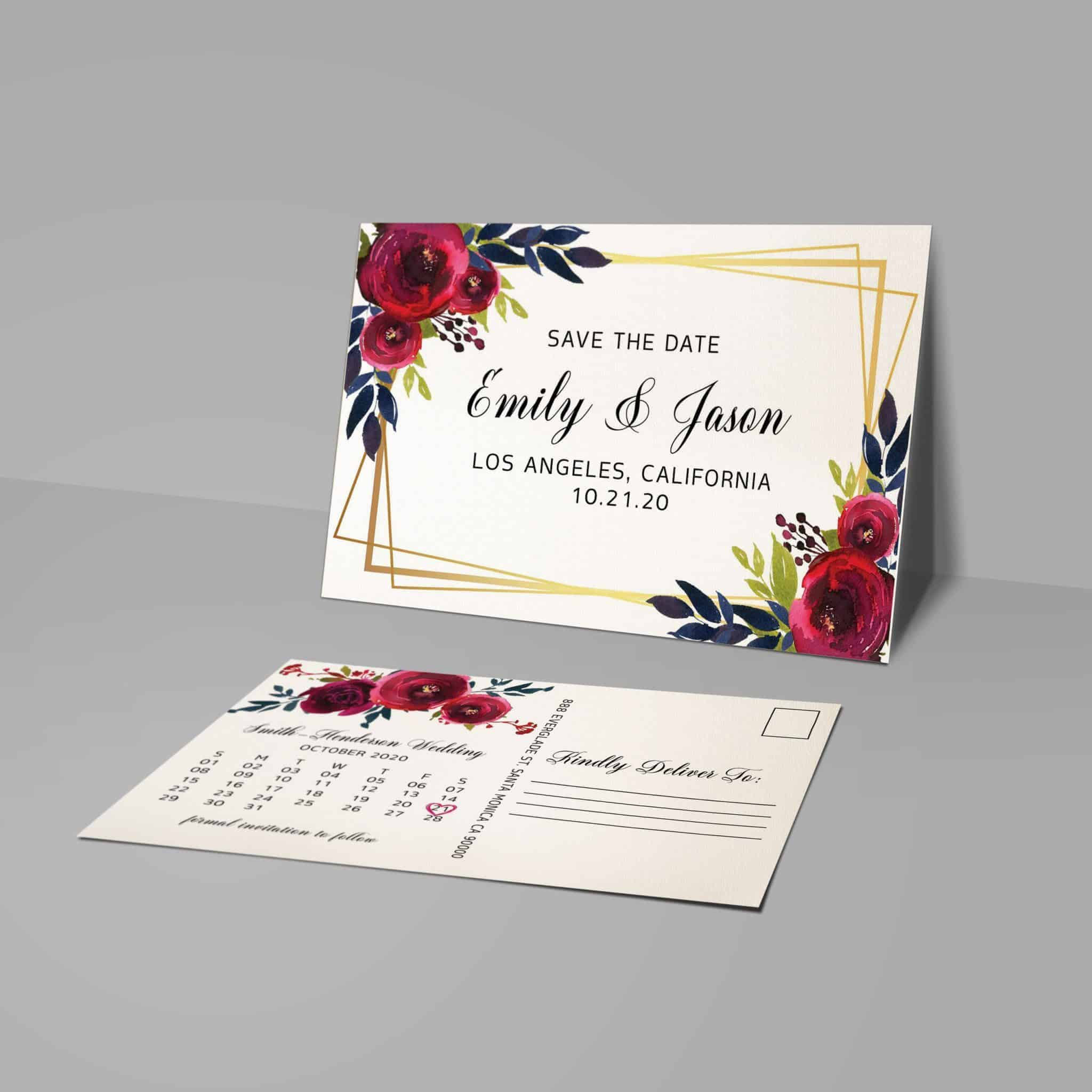 Floral Frame Save the Dates, Wedding Save the Date Postcards, Announcement for Friends Save the Date Cards, Calendar Save the Date