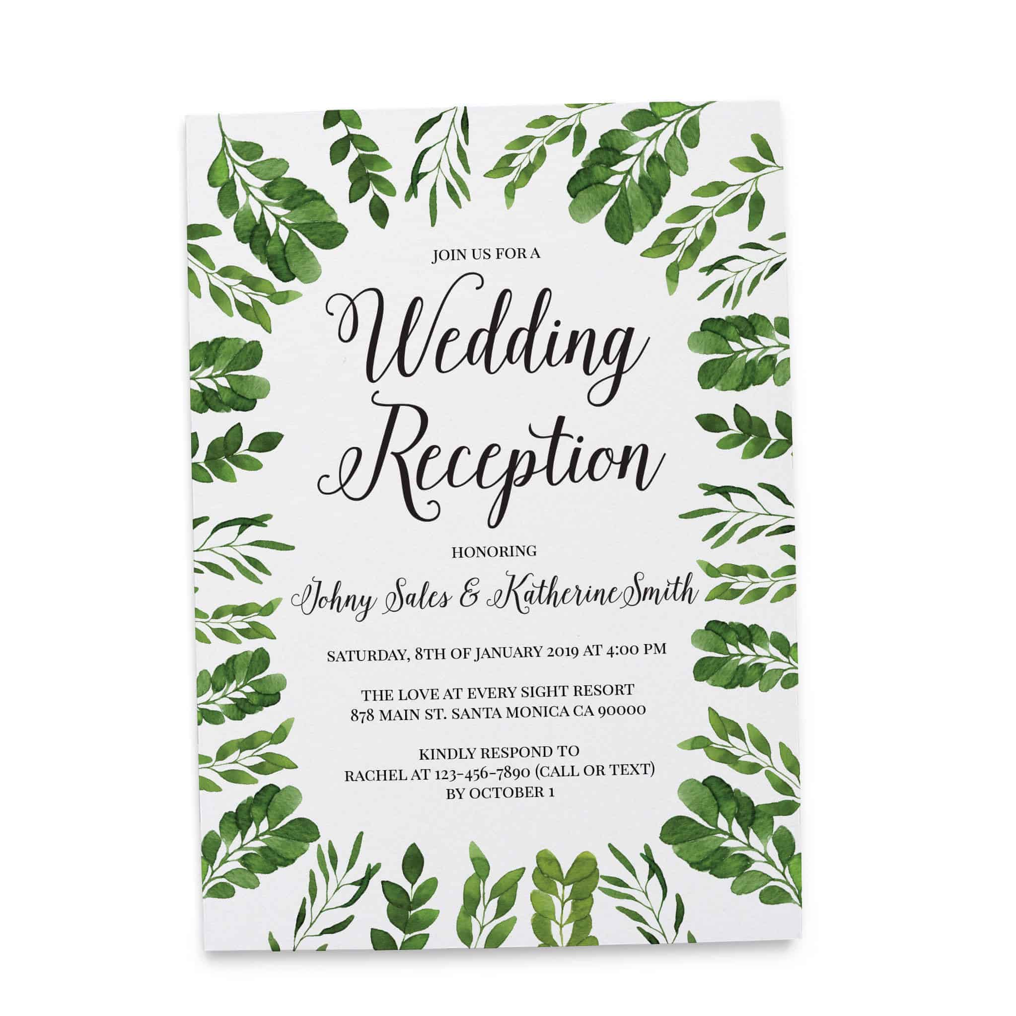 Modern Simple Wedding Reception Invitation Cards For Casual Party
