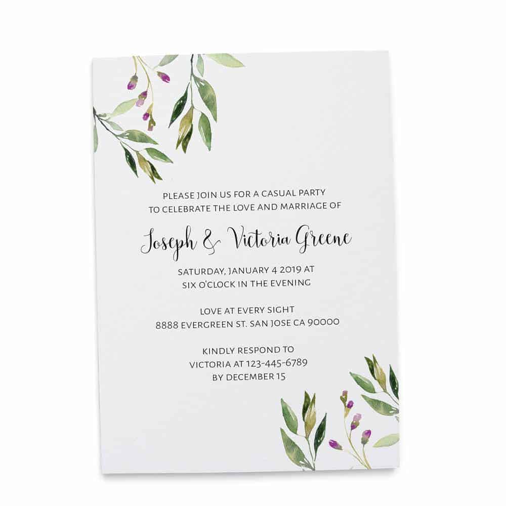 Elopement Reception Invitation Cards, Wedding Reception Invitations, Floral Simple and Minimalistic Invitation Card