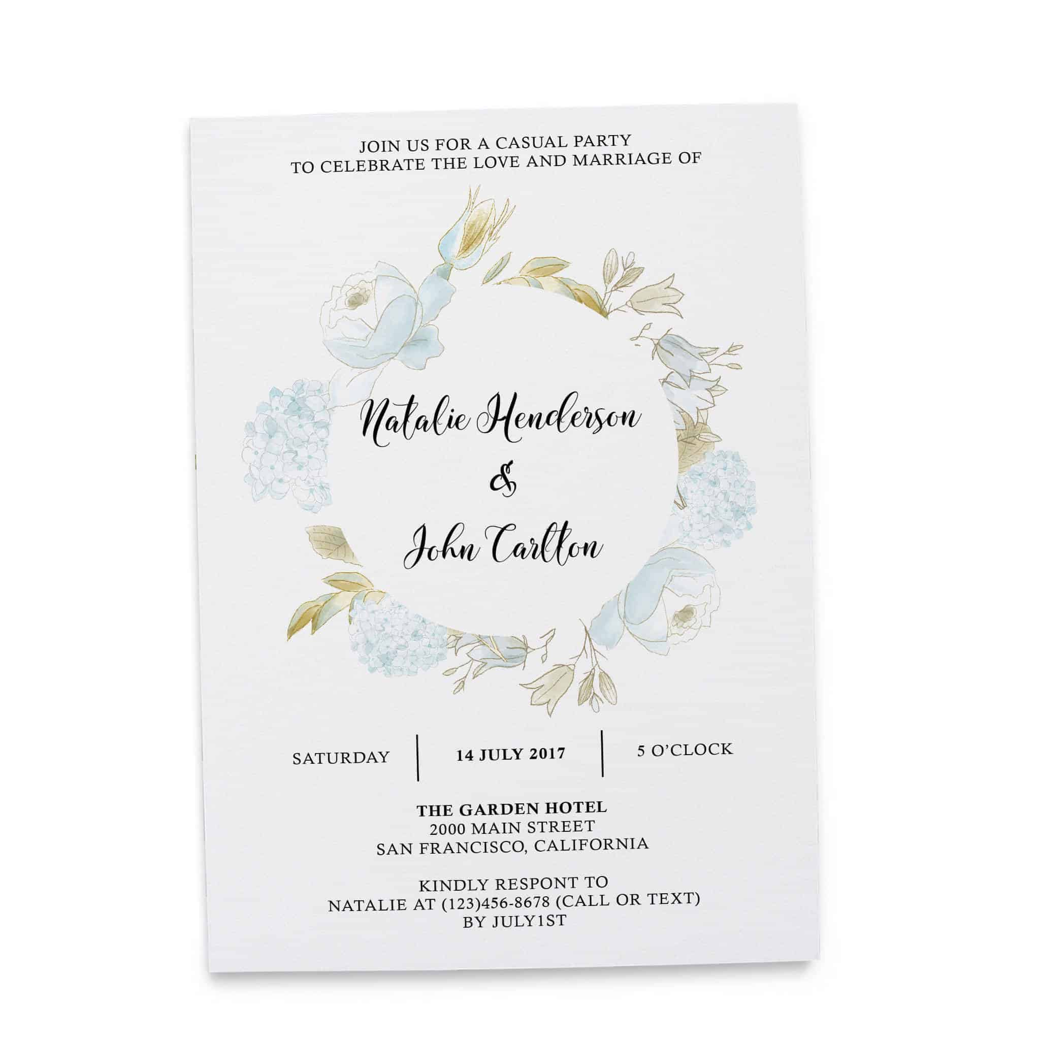 Elopement Reception Party Invitations, Casual Wedding Reception Cards, Printed Printable Wedding Party Card, Gentle Floral Design