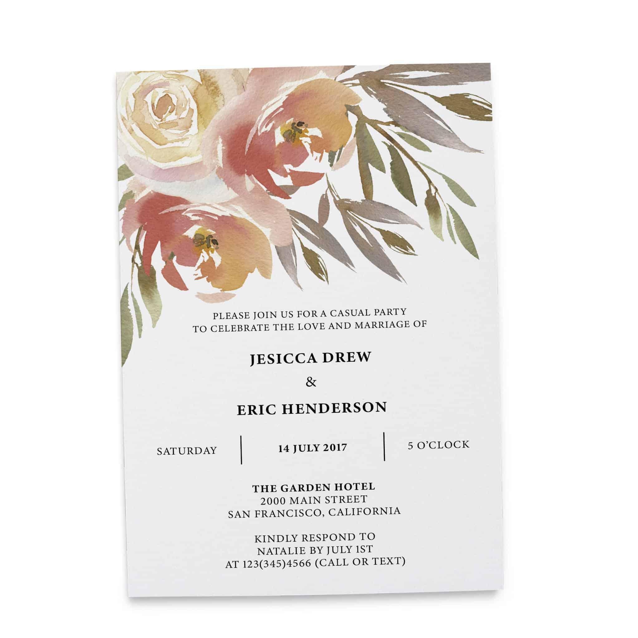 Elopement Reception Invitation Cards, Wedding Reception Invitations, Floral Invitation Card- Gentle Watercolor Flowers Design