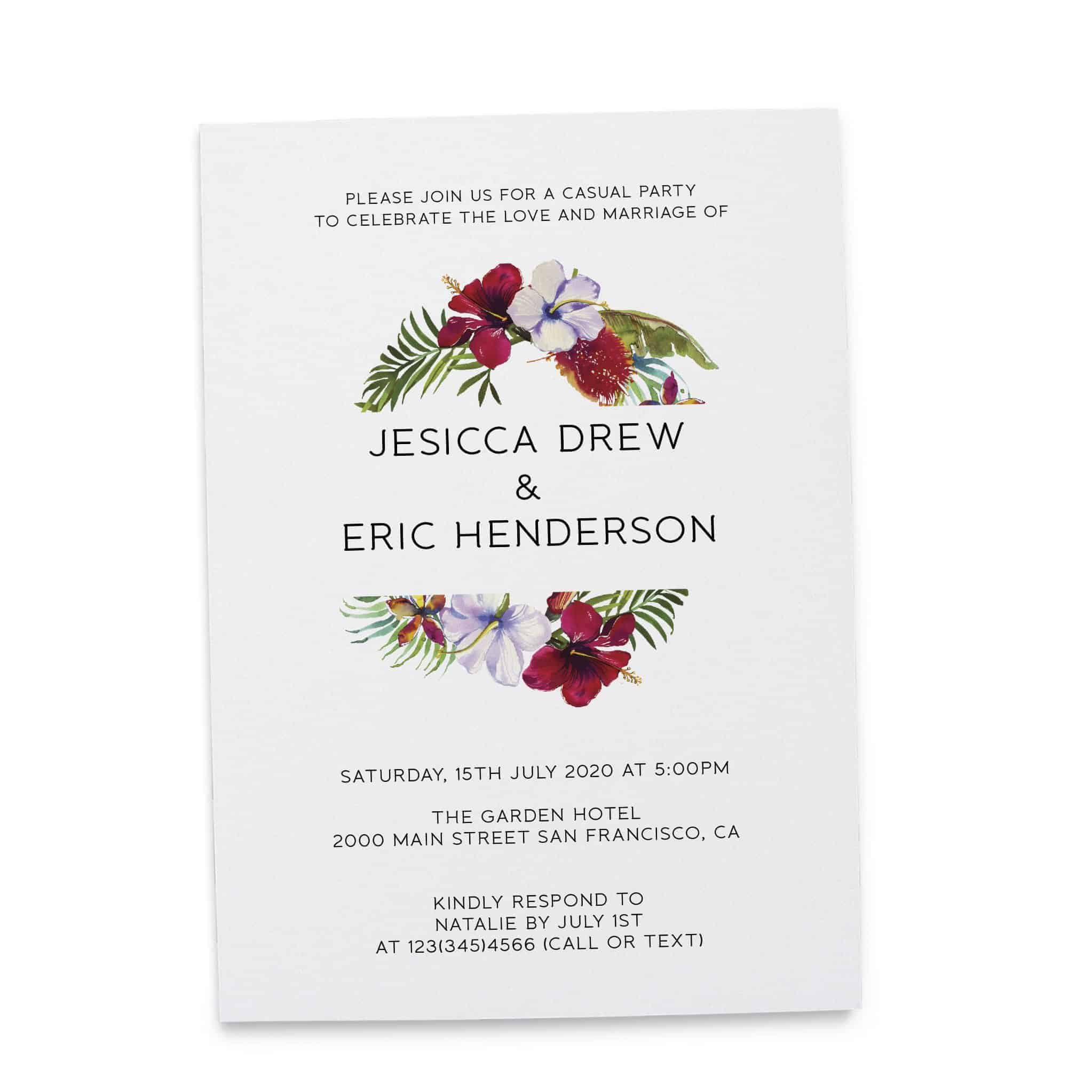 Summer Elopement Reception Invitation Cards Wedding Reception